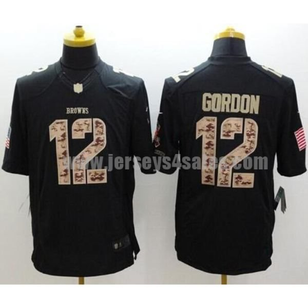 Nike Browns #12 Josh Gordon Black Men's Stitched NFL Limited Salute to Service Jersey