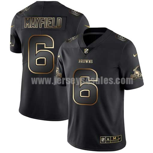 Men's Cleveland Browns #6 Baker Mayfield Nike 2019 NFL Golden Edition Black Jersey