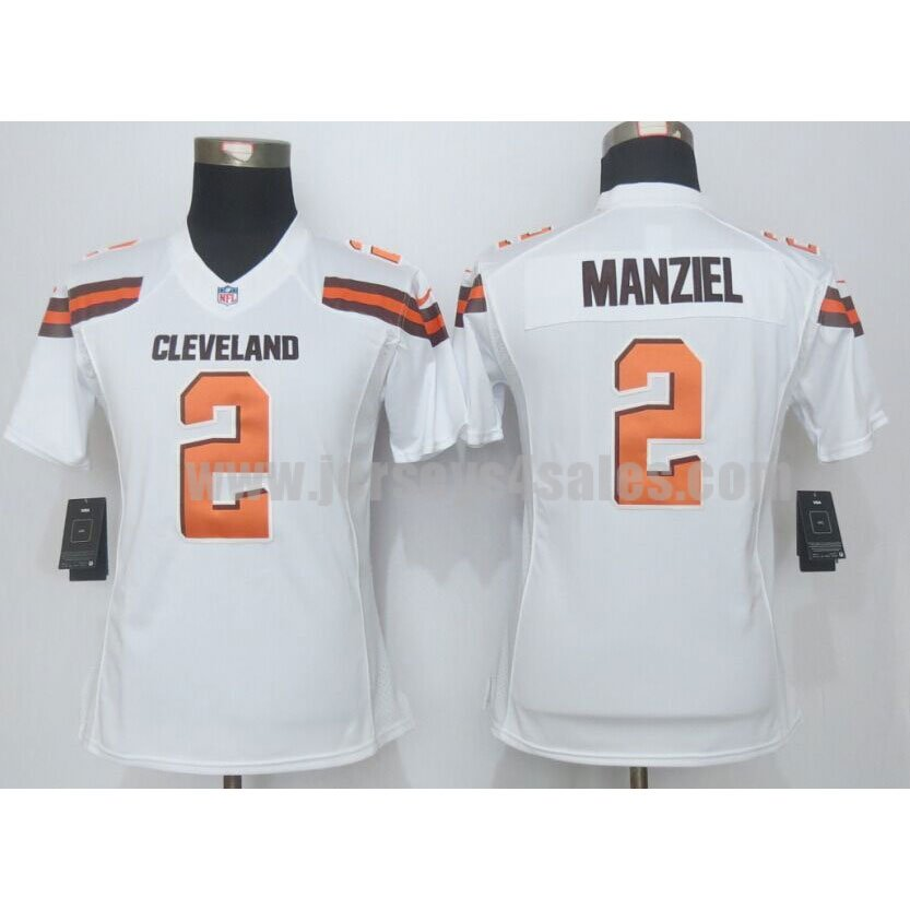 Women's Cleveland Browns #2 Johnny Manziel White 2015 Nike NFL Limited Jersey