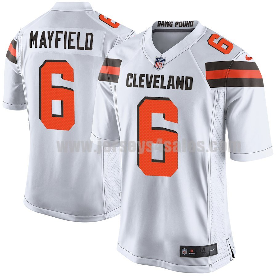 Men's Cleveland Browns #6 Baker Mayfield White Nike 2018 NFL Draft Pick Game Jersey