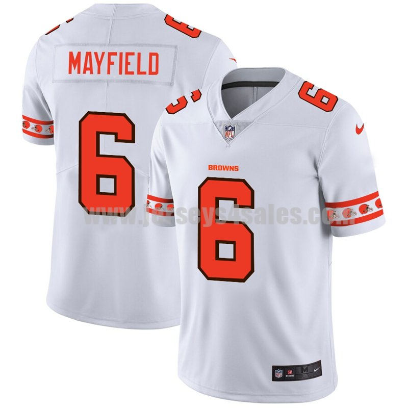 Men's Cleveland Browns #6 Baker Mayfield White NFL Team Logo Cool Edition Jerseys
