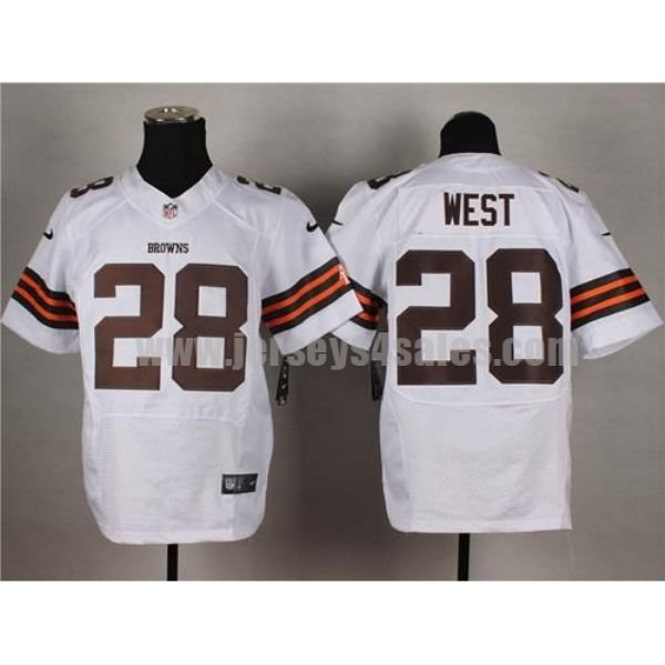 Nike Browns #28 Terrance West White Men's Stitched NFL Elite Jersey