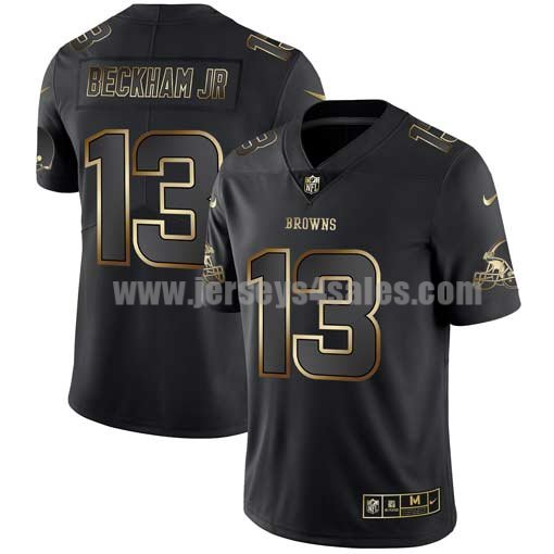 Men's Cleveland Browns #13 Odell Beckham Jr Nike 2019 NFL Golden Edition Black Jersey