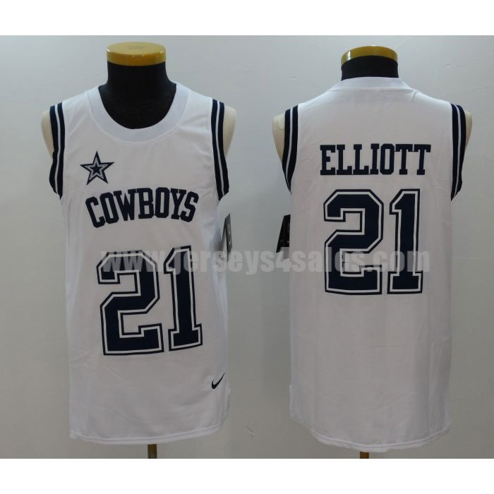 Men's Dallas Cowboys #21 Ezekiel Elliott White Nike Player Name&Number Tank Top