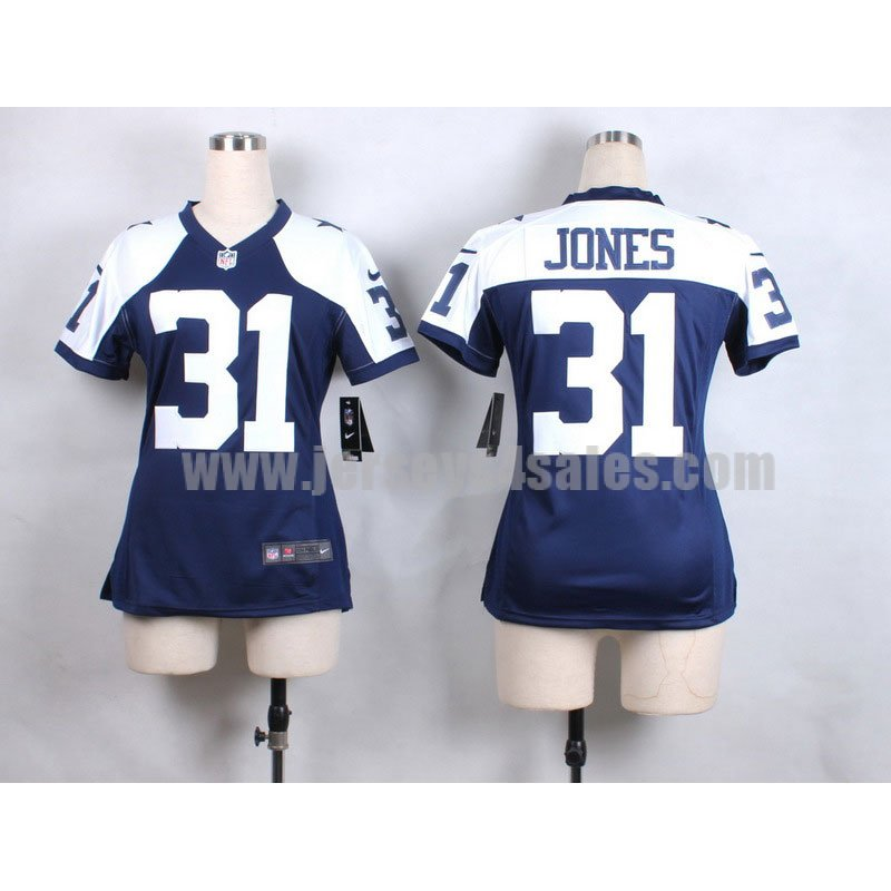 Women's Dallas Cowboys #31 Byron Jones Blue/White Stitched Nike NFL Elite Jersey