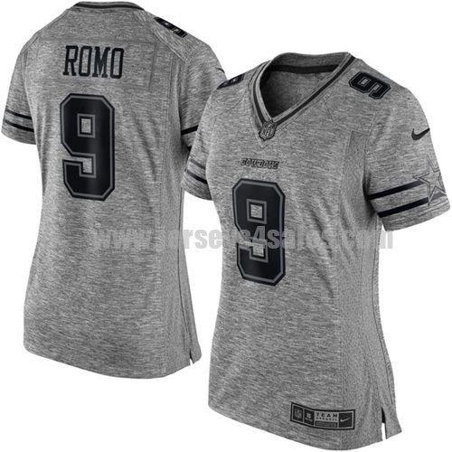Women's Dallas Cowboys #9 Tony Romo Grey Stitched Nike NFL Gridiron Gray Limited Jersey