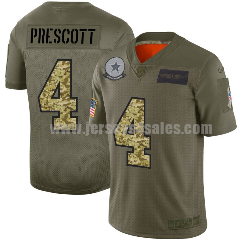 Men's Dallas Cowboys #4 Dak Prescott Nike 2019 Olive/Camo Salute to Service Limited Jersey