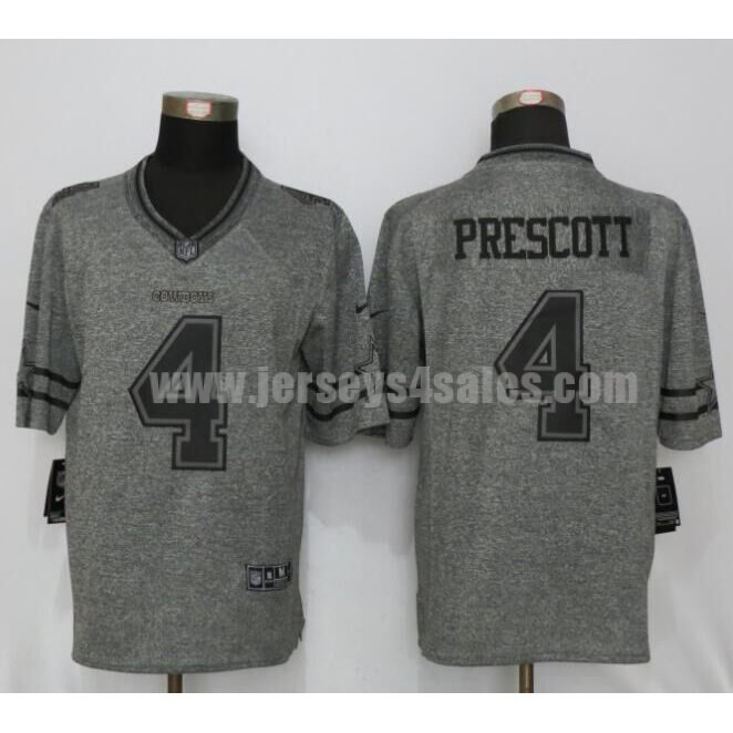 Men's Dallas Cowboys #4 Dak Prescott Grey Stitched Nike NFL Gridiron Gray Limited Jersey