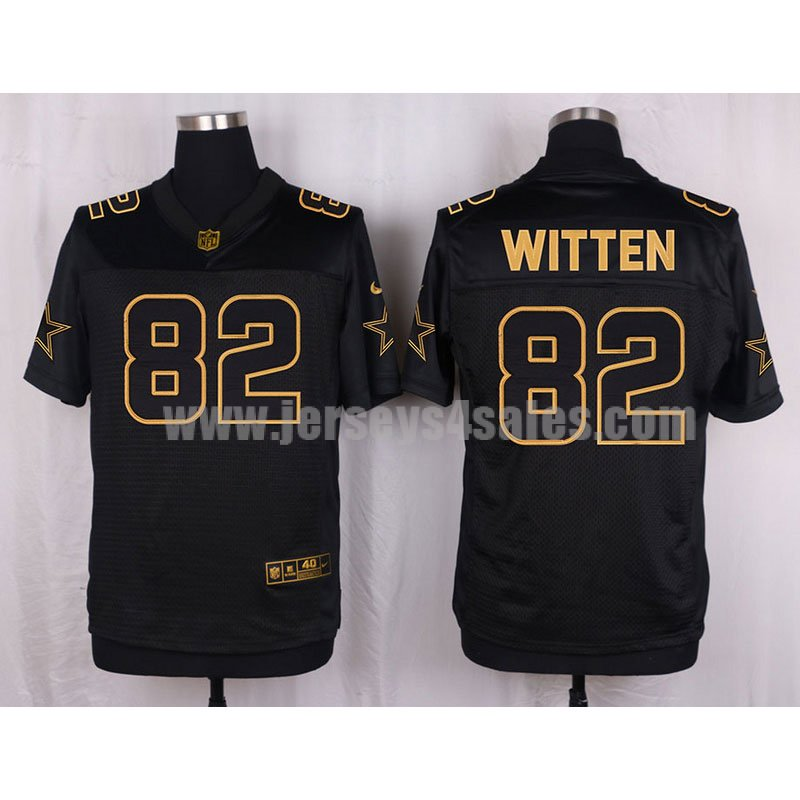 Men's Dallas Cowboys #82 Jason Witten Black Heat Sealed Nike NFL Gold Collection Elite Jersey