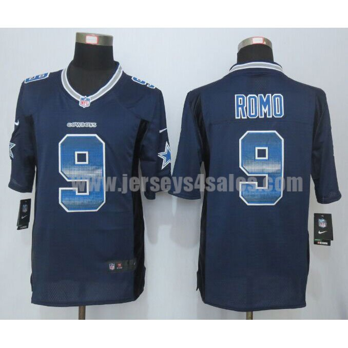 Men's Dallas Cowboys #9 Tony Romo Navy Blue Team Color Stitched Strobe Nike NFL Limited Jersey