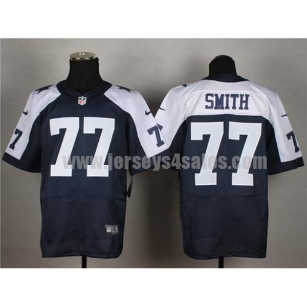 Nike Cowboys #77 Tyron Smith Navy Blue Thanksgiving Throwback Men's Stitched NFL Elite Jersey