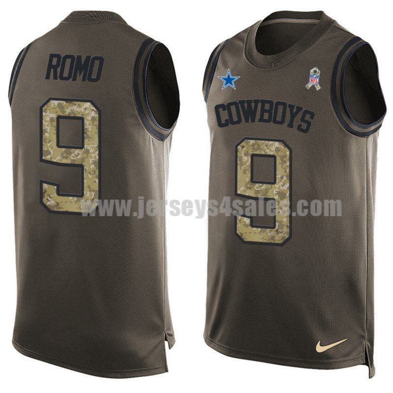 Men's Dallas Cowboys #9 Tony Romo Olive Nike Player Name & Number Salute To Service NFL Tank Top