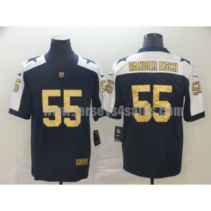 Men's Dallas Cowboys #55 Leighton Vander Esch Navy Blue Stitched Nike NFL Gold Collection Limited Jersey