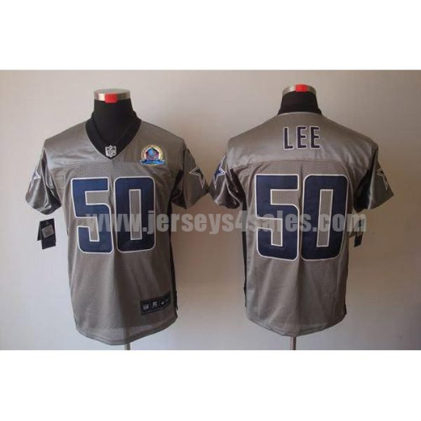 Nike Cowboys #50 Sean Lee Grey Shadow With Hall of Fame 50th Patch Men's Stitched NFL Elite Jersey
