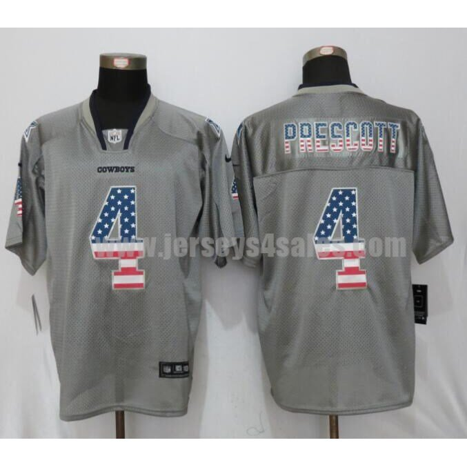 Men's Dallas Cowboys #4 Dak Prescott Grey Stitched Nike NFL USA Flag Fashion Elite Jersey