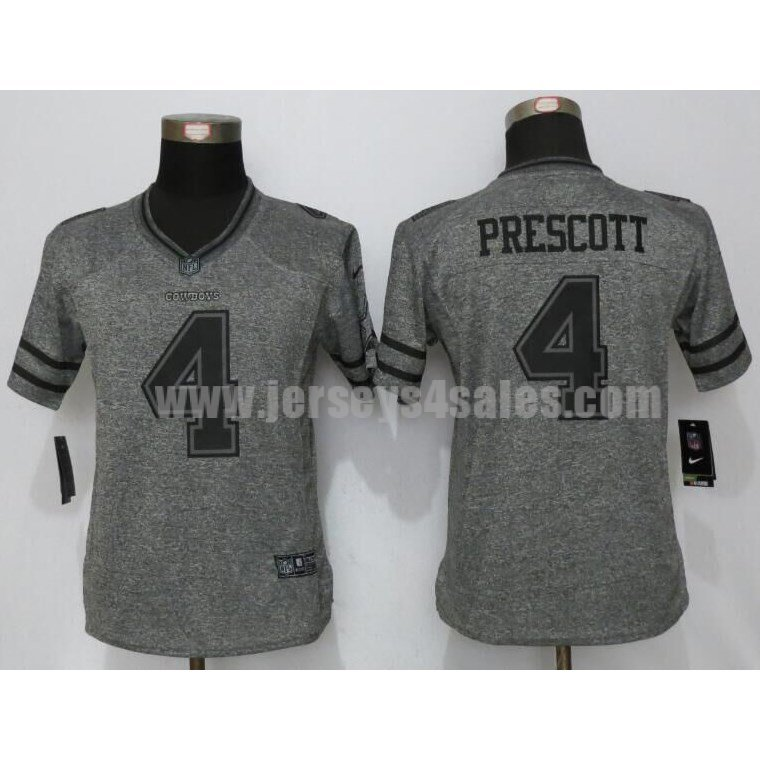 Women's Dallas Cowboys #4 Dak Prescott Grey Stitched Nike NFL Gridiron Gray Limited Jersey
