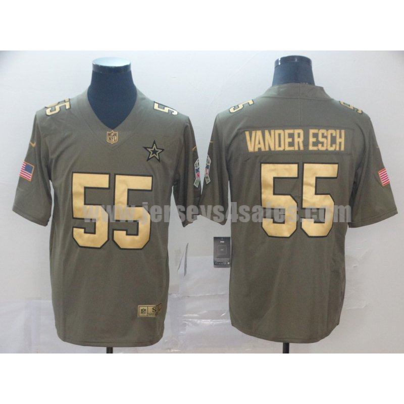 Men's Dallas Cowboys #55 Leighton Vander Esch Olive Nike NFL Gold Collection 2017 Salute To Service Limited Jersey