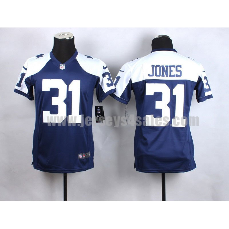 Youth Dallas Cowboys #31 Byron Jones Blue/White Stitched Nike NFL Elite Jersey