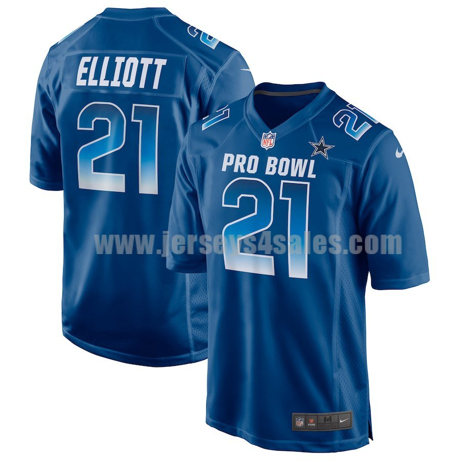 Men's Nike Dallas Cowboys #21 Ezekiel Elliott NFC Royal 2019 Pro Bowl Game Jersey