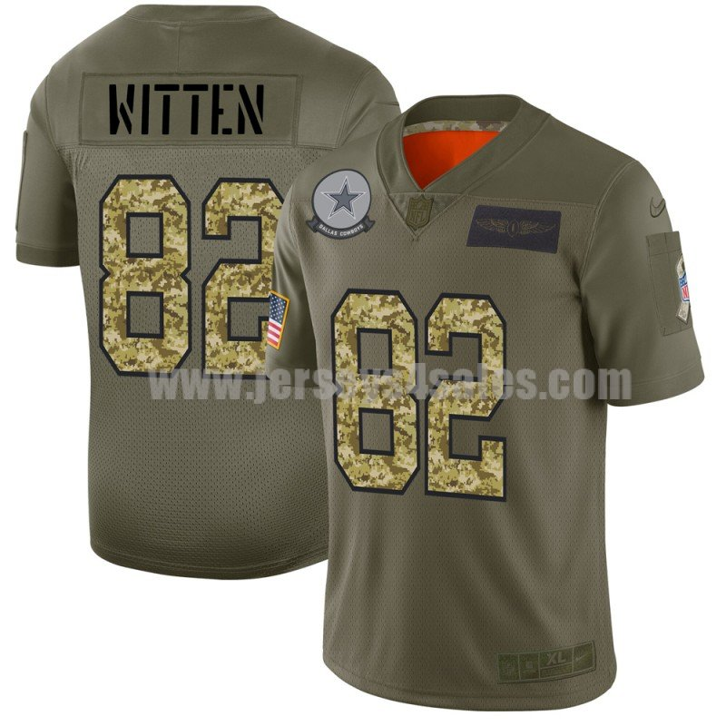 Men's Dallas Cowboys #82 Jason Witten Nike 2019 Olive/Camo Salute to Service Limited Jersey