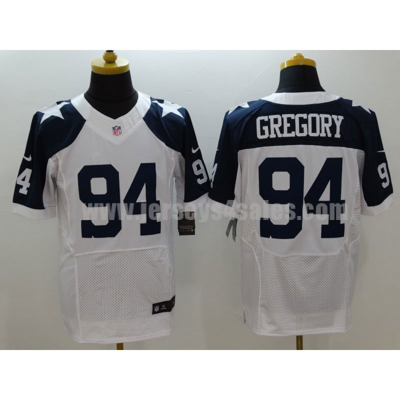 Men's Dallas Cowboys #94 Randy Gregory White Stitched Nike NFL Thanksgiving Throwback Elite Jersey