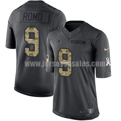 Men's Dallas Cowboys #9 Tony Romo Anthracite Stitched Nike NFL 2016 Salute To Service Limited Jersey