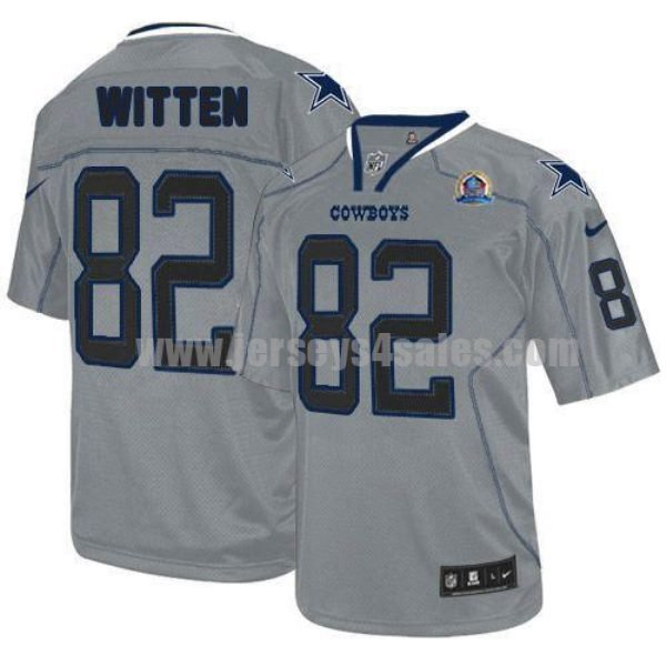 Nike Cowboys #82 Jason Witten Lights Out Grey With Hall of Fame 50th Patch Men's Stitched NFL Elite Jersey