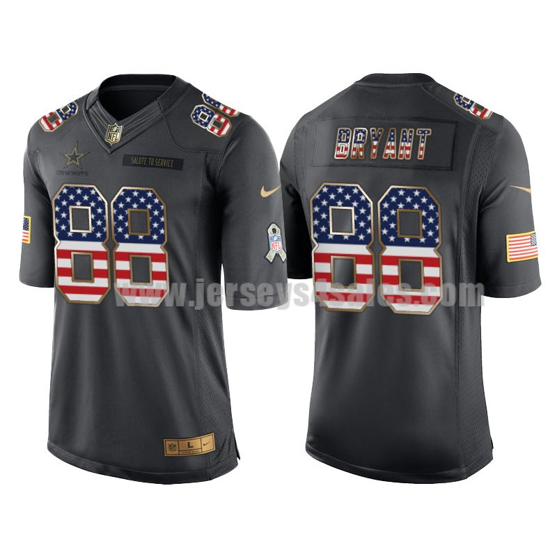 Men's Dallas Cowboys #88 Dez Bryant Anthracite Stitched Nike NFL USA Flag Fashion Salute To Service Limited Jersey