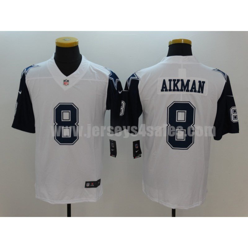 Men's Dallas Cowboys #8 Troy Aikman White Stitched Nike NFL Color Rush Limited Jersey