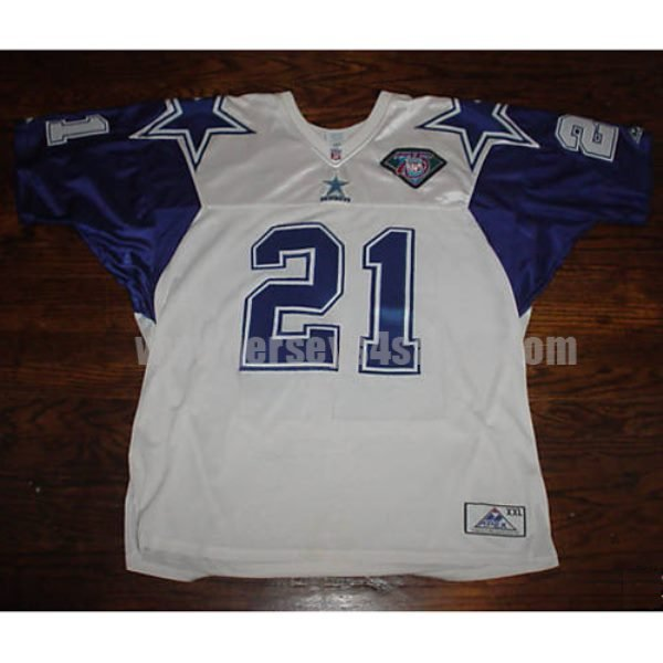 Mitchell & Ness Cowboys #21 Deion Sanders White With 75TH Stitched NFL Jersey