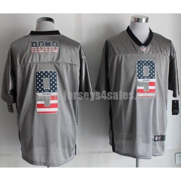 Nike Cowboys #9 Tony Romo Grey Men's Stitched NFL Elite USA Flag Fashion Jersey