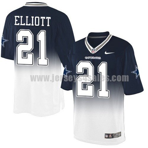 Men's Dallas Cowboys #21 Ezekiel Elliott Navy Blue/White Stitched Nike NFL Fadeaway Elite Jersey