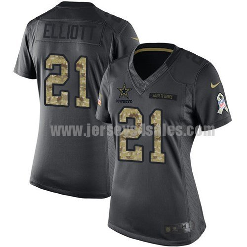 Women's Dallas Cowboys #21 Ezekiel Elliott Anthracite Stitched Nike NFL 2016 Salute To Service Limited Jersey