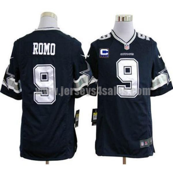 Nike Cowboys #9 Tony Romo Navy Blue Team Color With C Patch Men's Stitched NFL Game Jersey
