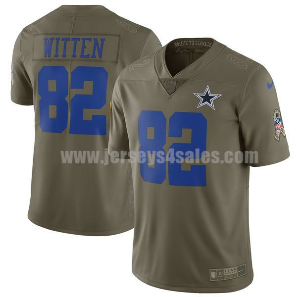 Men's Dallas Cowboys #82 Jason Witten Olive Nike NFL 2017 Salute To Service Limited Jersey