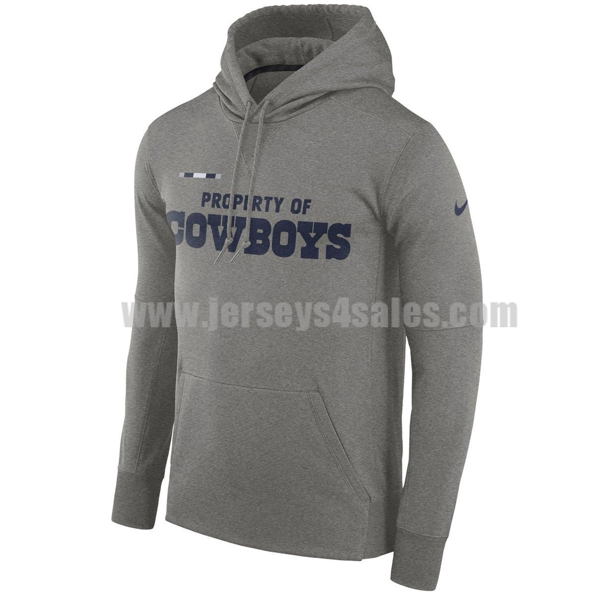 Men's Dallas Cowboys Grey Nike Sideline Property Of Performance NFL Pullover Hoodie
