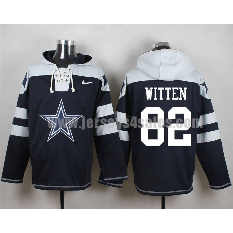 Men's Dallas Cowboys #82 Jason Witten Big Logo Lace-Up NFL Hoodie - Navy Blue