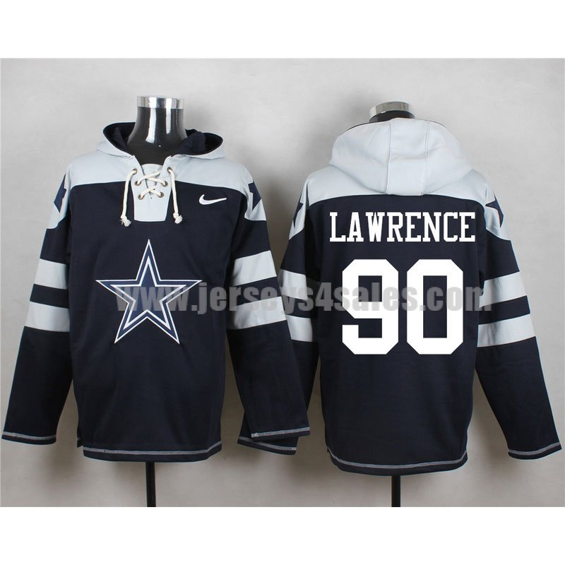 Men's Dallas Cowboys #90 Demarcus Lawrence Big Logo Lace-Up NFL Hoodie - Navy Blue