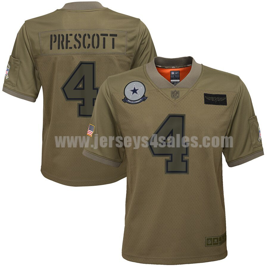 Youth Dallas Cowboys #4 Dak Prescott Nike Camo 2019 Salute to Service Game Jersey