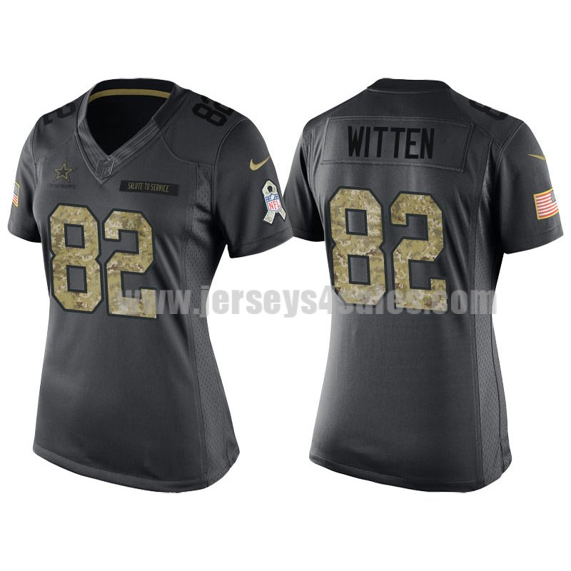 Women's Dallas Cowboys #82 Jason Witten Anthracite Stitched Nike NFL 2016 Salute To Service Limited jersey