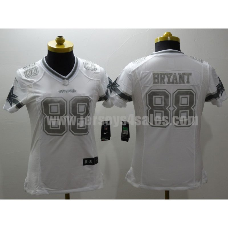 Women's Dallas Cowboys #88 Dez Bryant White Stitched Nike NFL Platinum Limited Jersey