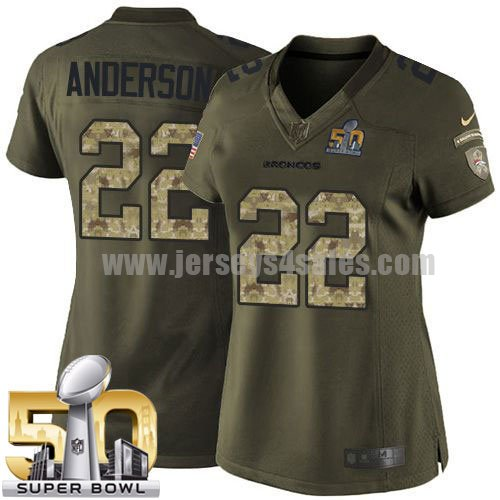 Women's Denver Broncos #22 C.J. Anderson Green Stitched Super Bowl 50 Nike NFL Salute To Service Limited Jersey