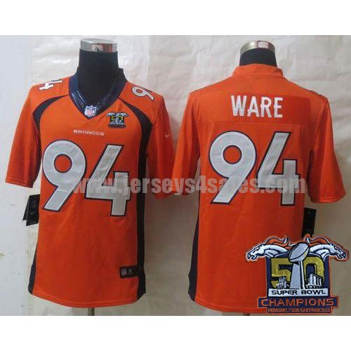 Nike Broncos #94 DeMarcus Ware Super Bowl 50 Champions Orange Team Color Men's Stitched NFL New Limited Jersey