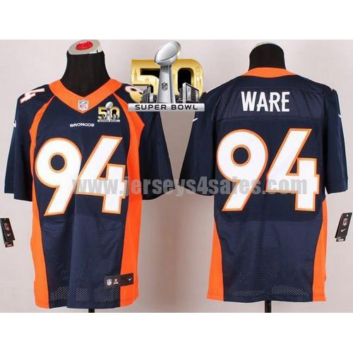 Men's Denver Broncos #94 DeMarcus Ware Navy Blue Stitched Super Bowl 50 Nike NFL Alternate Elite Jersey