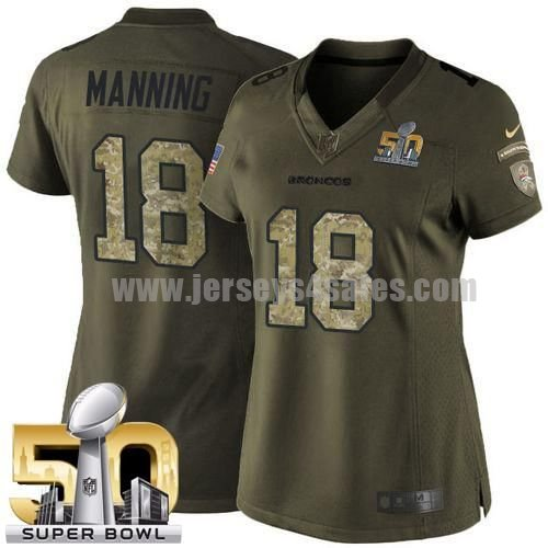Women's Denver Broncos #18 Peyton Manning Green Stitched Super Bowl 50 Nike NFL Salute To Service Limited Jersey