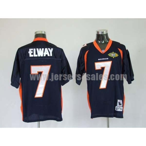 Mitchel & Ness Broncos #7 John Elway Blue With 2010 Super Bowl Patch Stitched Throwback NFL Jersey