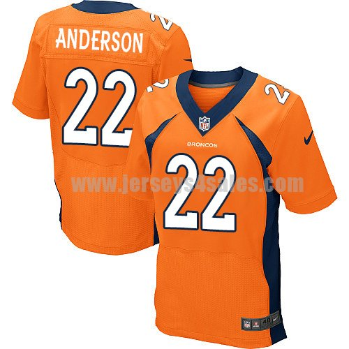 Men's Denver Broncos #22 C.J. Anderson Orange Stitched Nike NFL Home Elite Jersey
