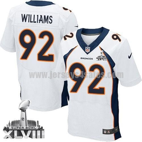 Nike Broncos #92 Sylvester Williams White Super Bowl XLVIII Men's Stitched NFL New Elite Jersey