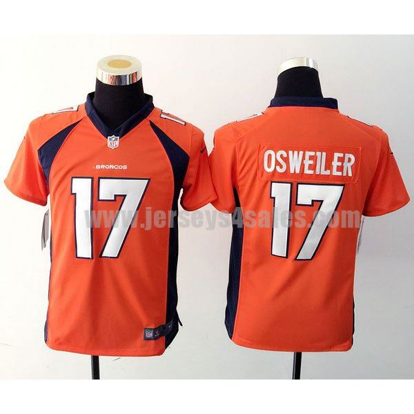 Youth Denver Broncos #17 Brock Osweiler Orange Stitched Nike NFL Home Elite jersey