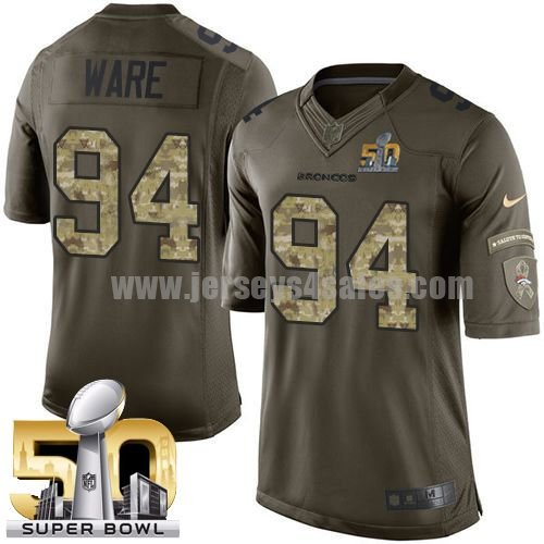 Men's Denver Broncos #94 DeMarcus Ware Green Stitched Super Bowl 50 Nike NFL Salute To Service Limited Jersey